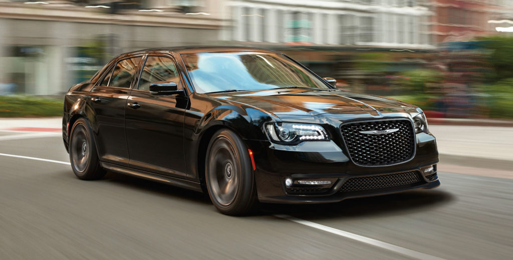2019 Chrysler 300 Black Color On Road Blur Background 4k